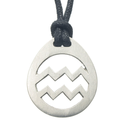 Aquarius Zodiac Pendant. Made from Pewter. Black cord. Necklace. Made in Fredericton NB New Brunswick Canada