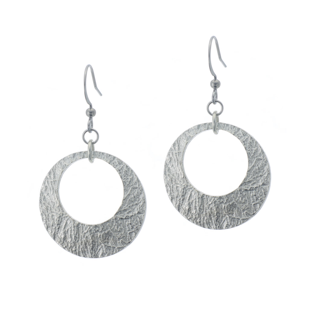 Arctic Hoop Earring. Made from Pewter. Made in Fredericton NB New Brunswick Canada