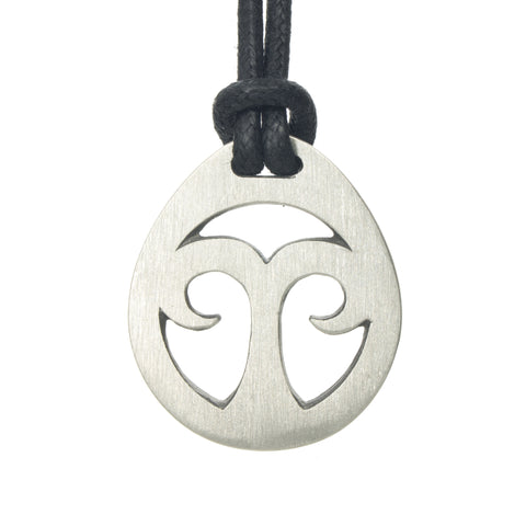 Aries Zodiac Pendant. Made from Pewter. Black cord. Necklace. Made in Fredericton NB New Brunswick Canada