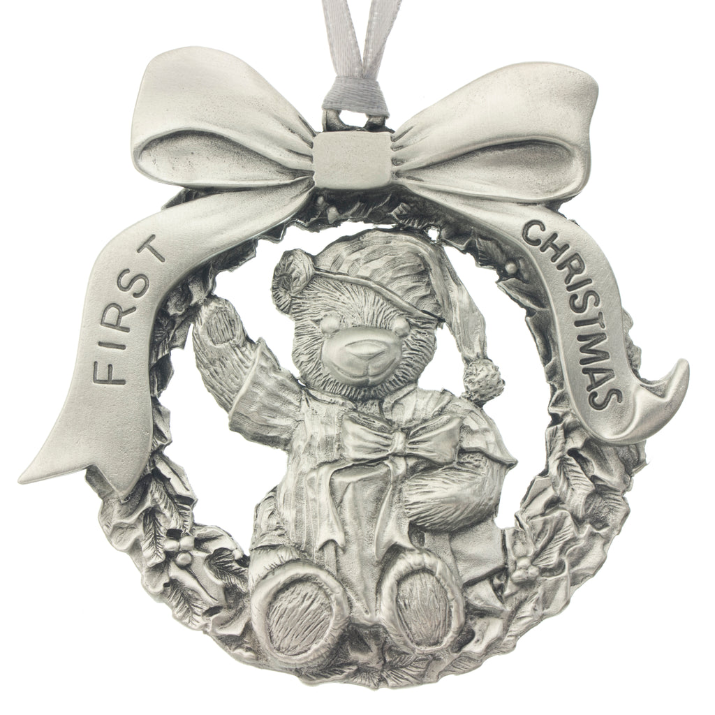 Baby's First Christmas Tree ornament. Engraving. Engravable. Made from Pewter. Silver ribbon. Made in Fredericton NB New Brunswick Canada
