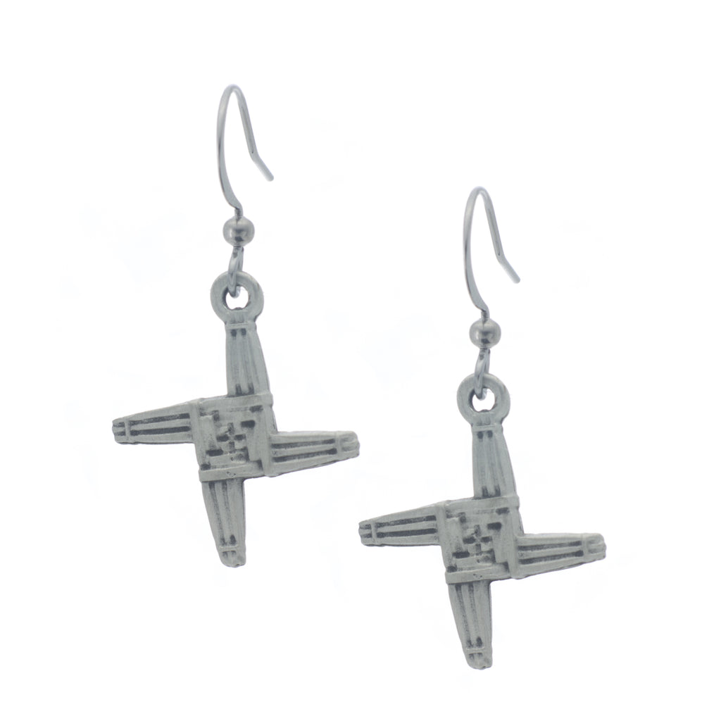 Saint Bridgets Cross Earring. Celtic. Irish. Made from Pewter. Made in Fredericton NB New Brunswick Canada