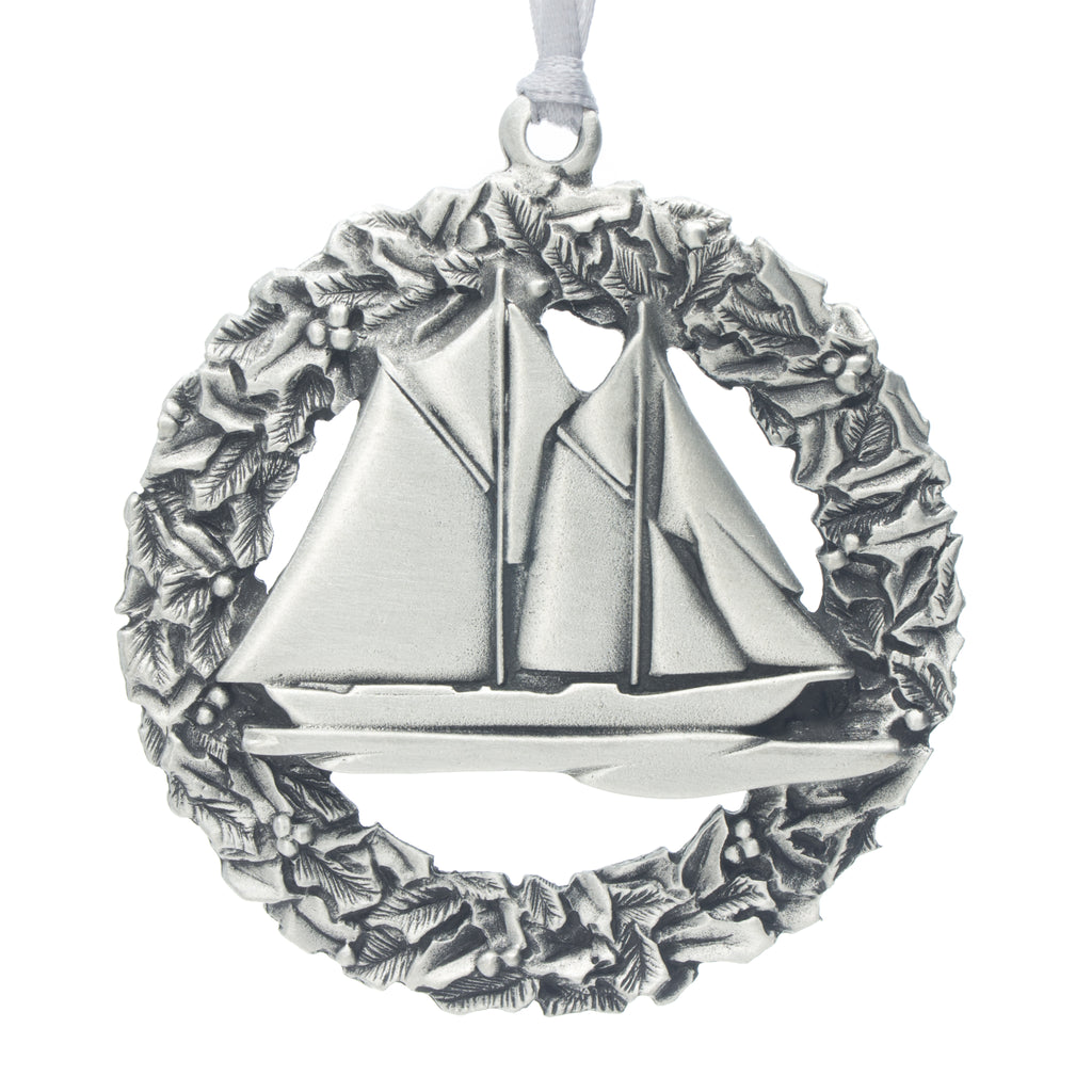 Bluenose Wreath Christmas Tree ornament. Made from Pewter. Silver ribbon. Made in Fredericton NB New Brunswick Canada