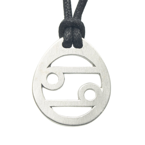 Cancer Zodiac Pendant. Made from Pewter. Black cord. Necklace. Made in Fredericton NB New Brunswick Canada
