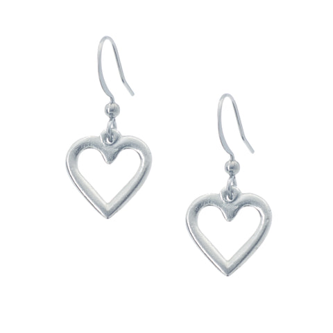 Carved Heart Earring. Made from Pewter. Made in Fredericton NB New Brunswick Canada