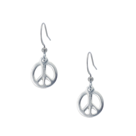 Carved Peace Earring. Groovy. Made from Pewter. Made in Fredericton NB New Brunswick Canada