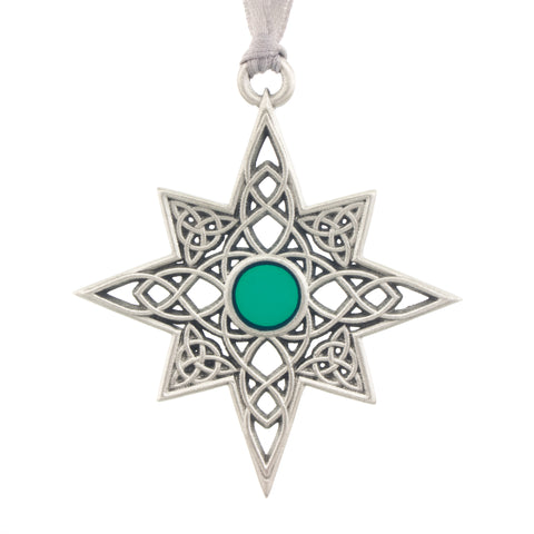 Celtic. Star. Green Enamel. Christmas Tree ornament. Made from Pewter. Silver ribbon. Made in Fredericton NB New Brunswick Canada