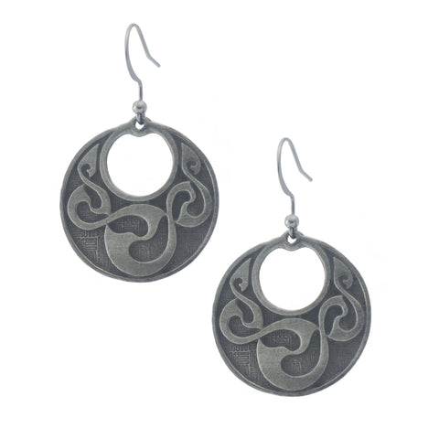 Celtic Linked Spiral Earring. Irish. Made from Pewter. Made in Fredericton NB New Brunswick Canada