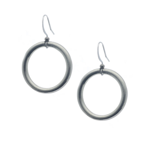 Classic Hoop Earring. Circle. Round. Made from Pewter. Made in Fredericton NB New Brunswick Canada