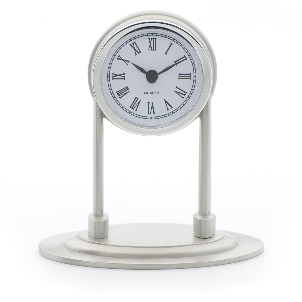 Colonial Clock. Satin finish. Made from Pewter. Made in Fredericton NB New Brunswick Canada