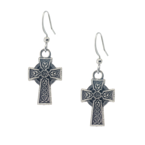 Celtic Cross of Hampton Earring. Celtic. Irish. Made from Pewter. Made in Fredericton NB New Brunswick Canada