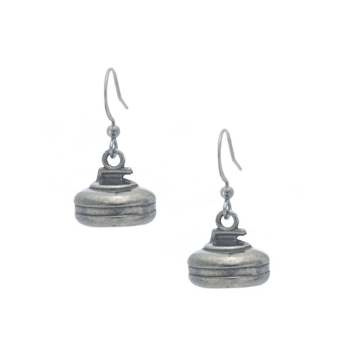 Curling Rock Earring. Made from Pewter. Made in Fredericton NB New Brunswick Canada