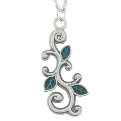 Devine Pendant. Enamal. Vine. Made from Pewter. Necklace. Made in Fredericton NB New Brunswick Canada