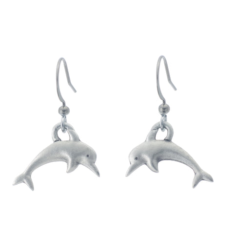 Dolphin Earring. Made from Pewter. Made in Fredericton NB New Brunswick Canada