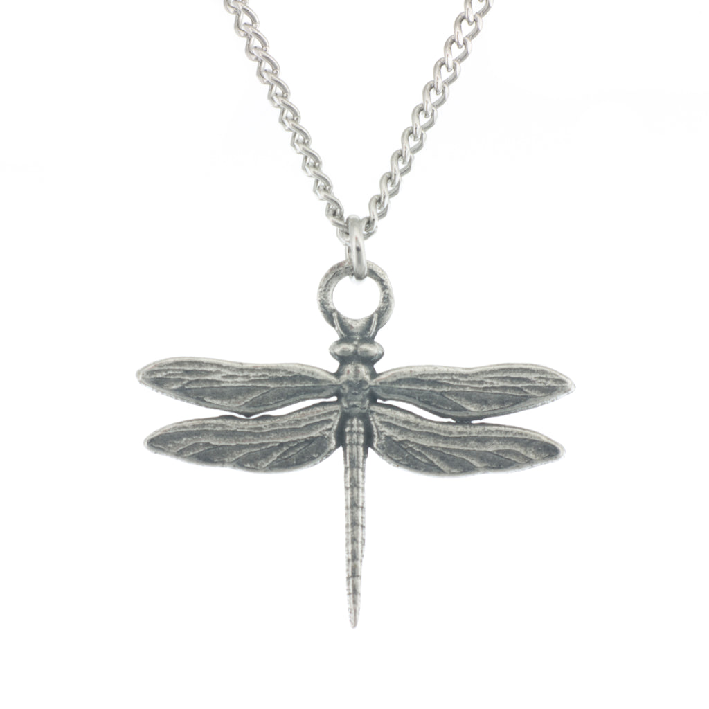 Dragonfly Pendant. Polished. Made from Pewter. Necklace. Made in Fredericton NB New Brunswick Canada