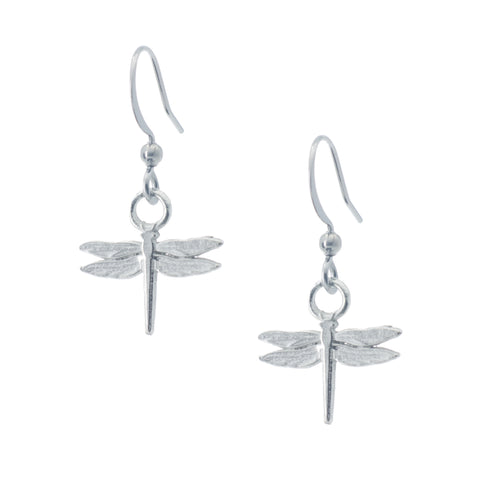 Dragonfly Earring. Polished finish. Made from Pewter. Made in Fredericton NB New Brunswick Canada