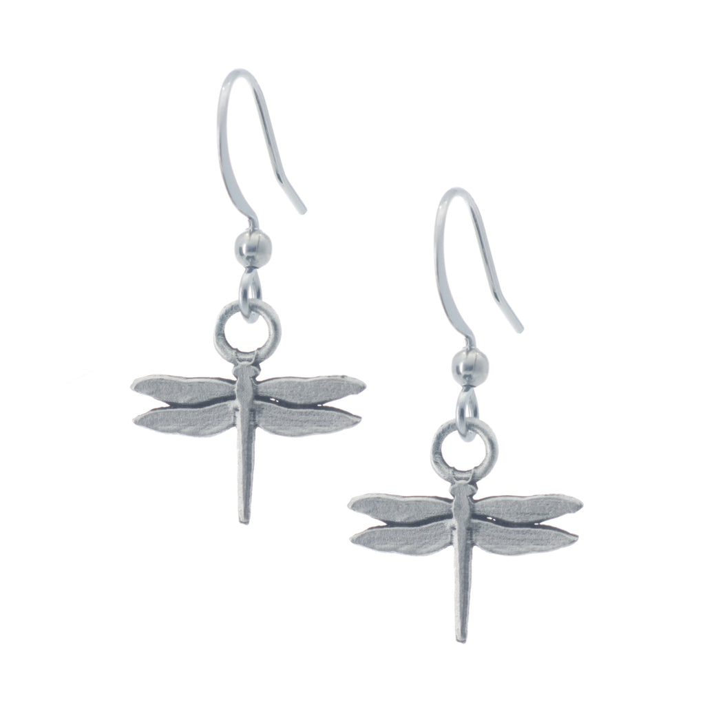 Dragonfly Earring. Satin finish. Made from Pewter. Made in Fredericton NB New Brunswick Canada