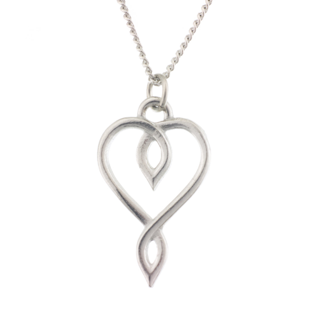 Embracing Heart Pendant. Made from Pewter. Necklace. Made in Fredericton NB New Brunswick Canada