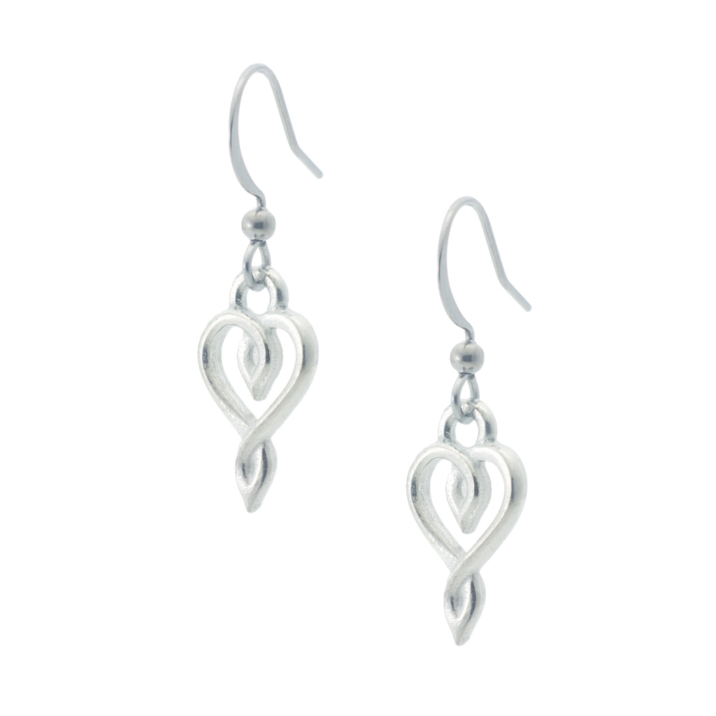 Embracing Heart Earring. Made from Pewter. Made in Fredericton NB New Brunswick Canada