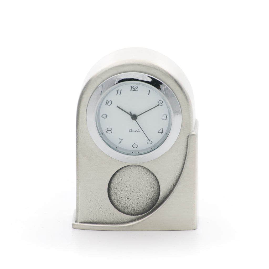 Expression Clock. Satin finish. Made from Pewter. Made in Fredericton NB New Brunswick Canada