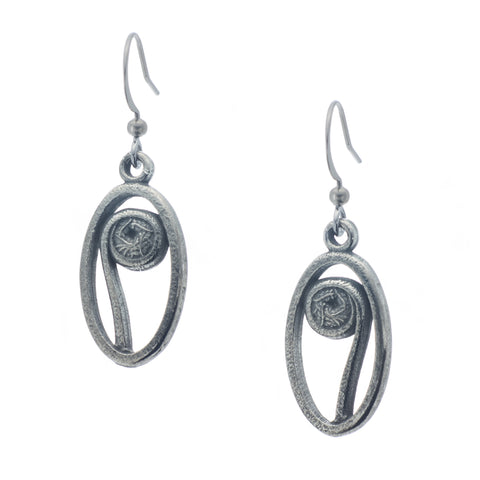 Fiddlehead Earring. Polish finish. Made from Pewter. Made in Fredericton NB New Brunswick Canada