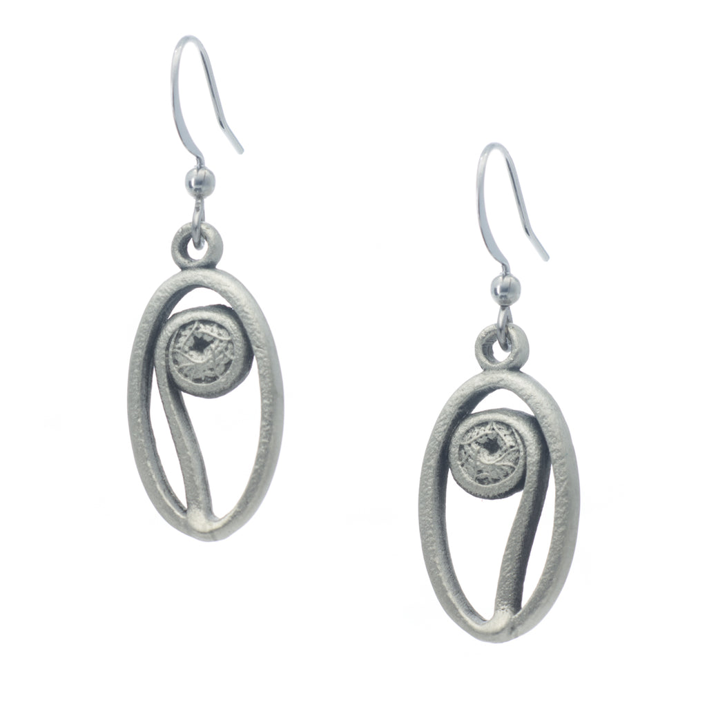 Fiddlehead Earring. Satin finish. Made from Pewter. Made in Fredericton NB New Brunswick Canada