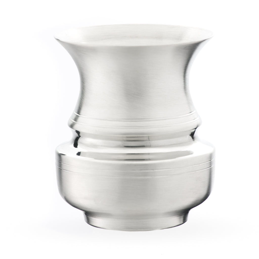 Small Freespun Vase. Satin finish. Made from Pewter. Made in Fredericton NB New Brunswick Canada