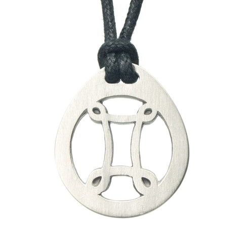 Gemini Zodiac Pendant. Made from Pewter. Black cord. Necklace. Made in Fredericton NB New Brunswick Canada