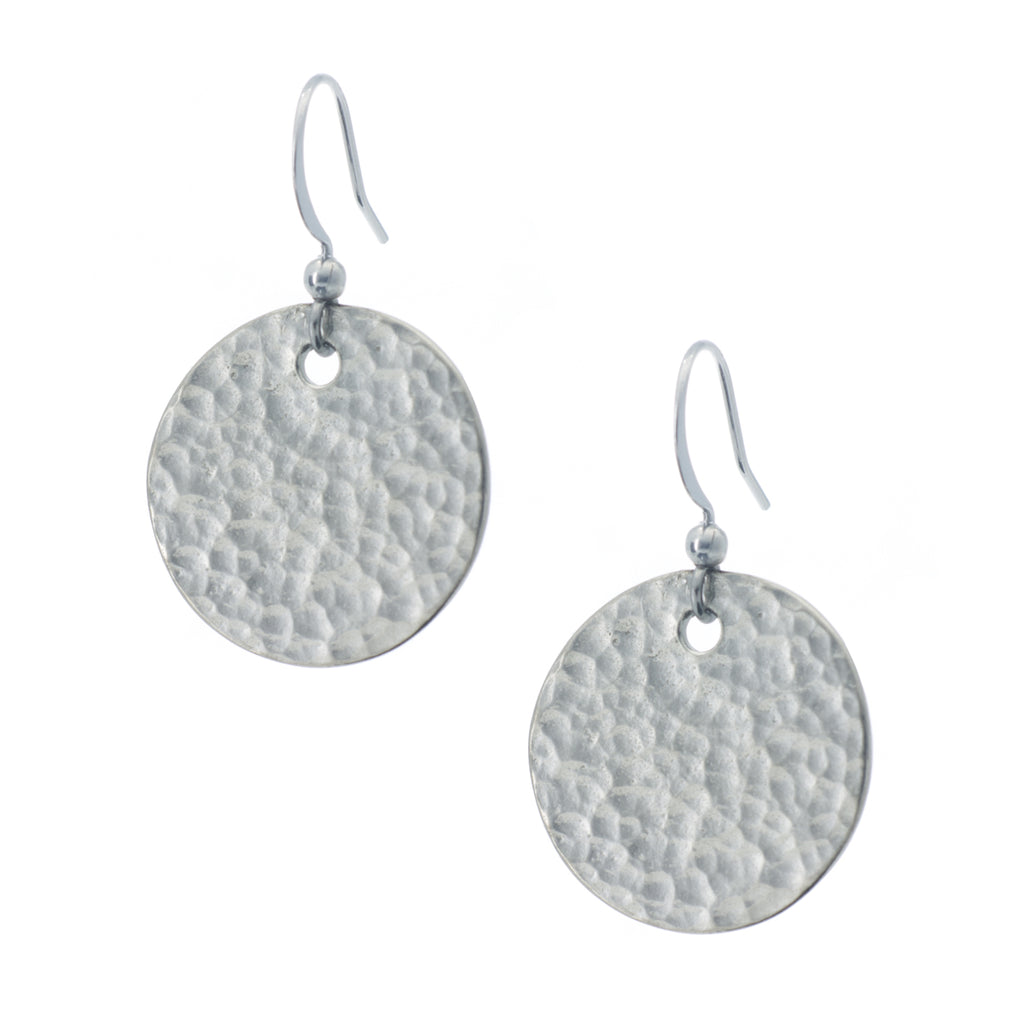 Hammered Circle Earring. Polish finish. Made from Pewter. Made in Fredericton NB New Brunswick Canada