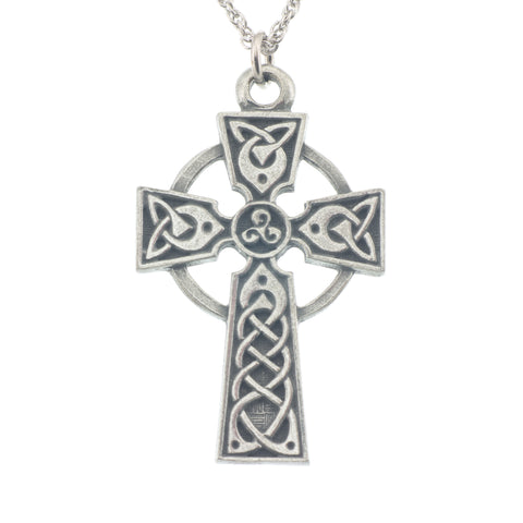 Celtic Cross of Hampton Pendant. Satin finish. Made from Pewter. Necklace. Made in Fredericton NB New Brunswick Canada