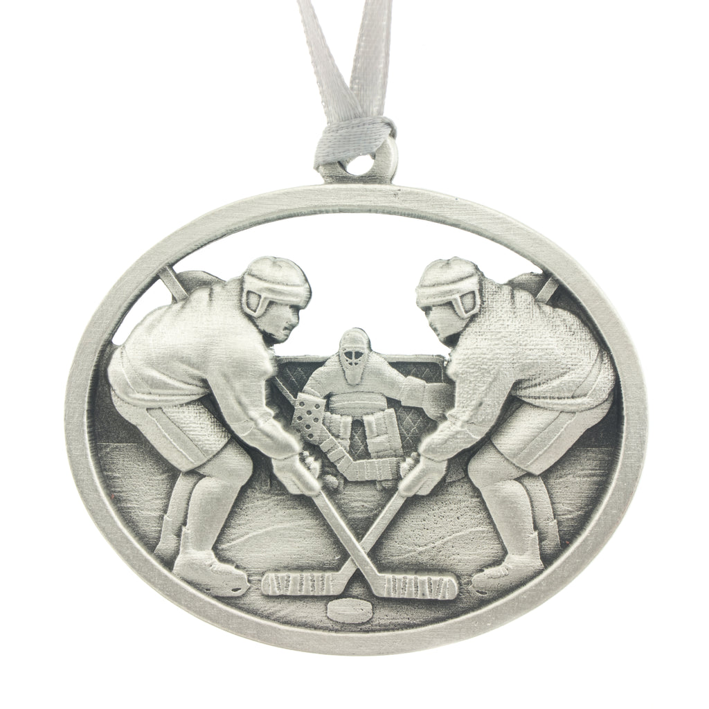 Face off! Christmas Tree ornament. Made from Pewter. Silver ribbon. Made in Fredericton NB New Brunswick Canada