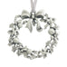 A Holiday wreath fashioned from Holly. Christmas Tree ornament. Made from Pewter. Silver ribbon. Made in Fredericton NB New Brunswick Canada