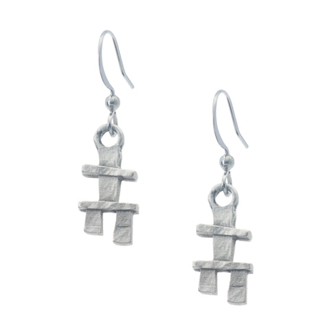 Inukshuk Earring. Made from Pewter. Made in Fredericton NB New Brunswick Canada