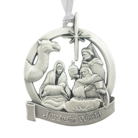 Joy to the World Christmas Tree ornament. Made from Pewter. Silver ribbon. Made in Fredericton NB New Brunswick Canada