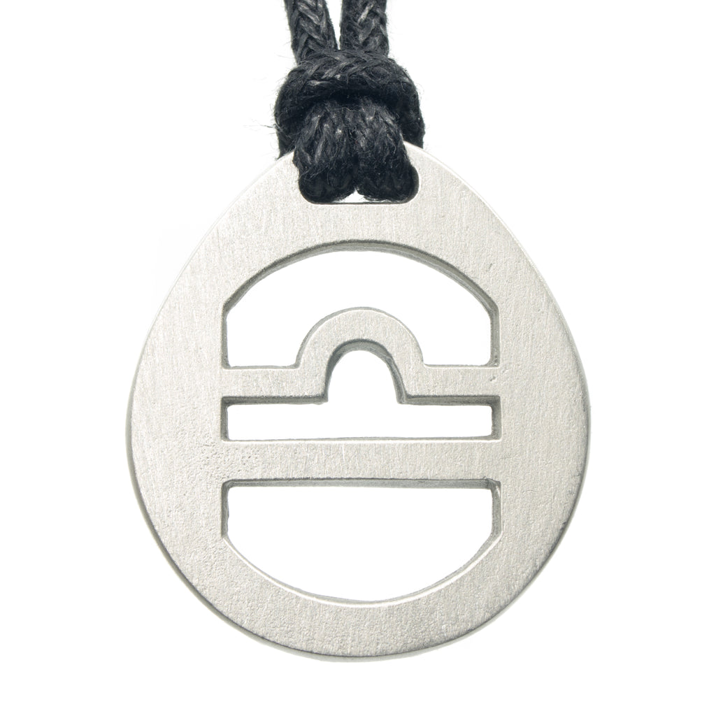 Libra Zodiac Pendant. Made from Pewter. Black cord. Necklace. Made in Fredericton NB New Brunswick Canada