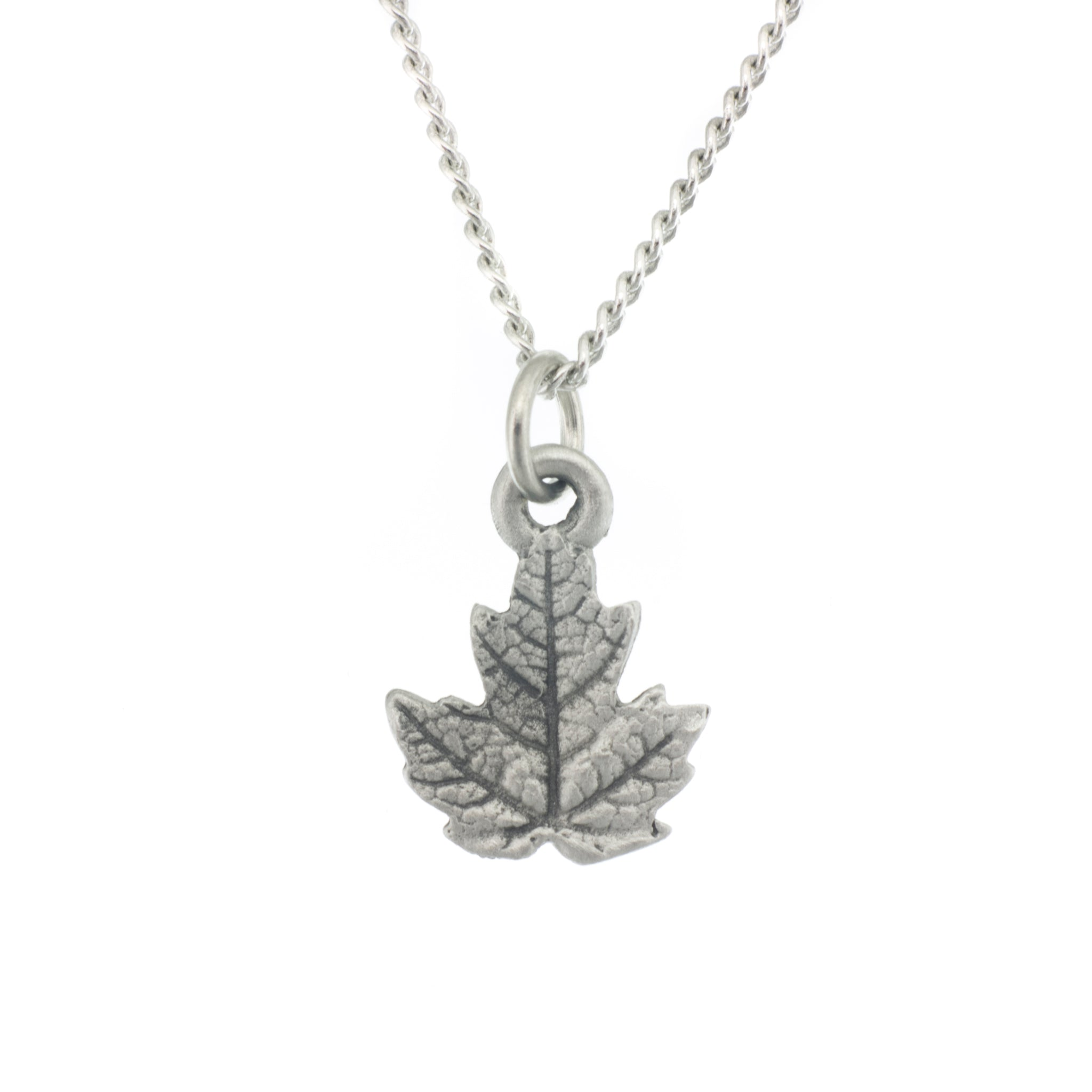 Maple leaf pendant aitkens pewter maple leaf pendant made from pewter necklace made in fredericton nb new brunswick aloadofball Gallery