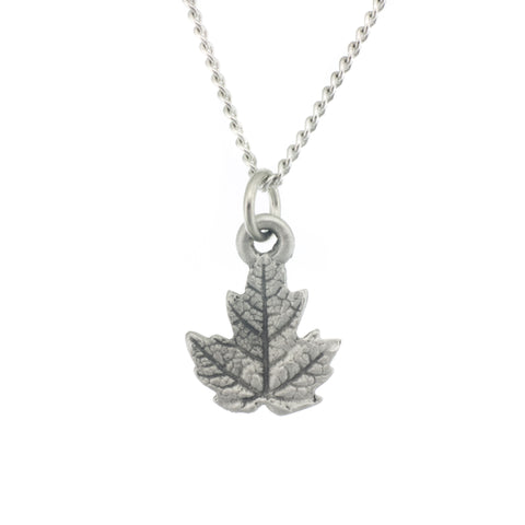 Maple Leaf Pendant. Made from Pewter. Necklace. Made in Fredericton NB New Brunswick Canada