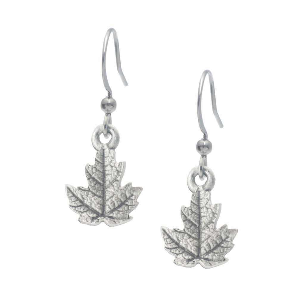 Maple Leaf Earring. Made from Pewter. Made in Fredericton NB New Brunswick Canada