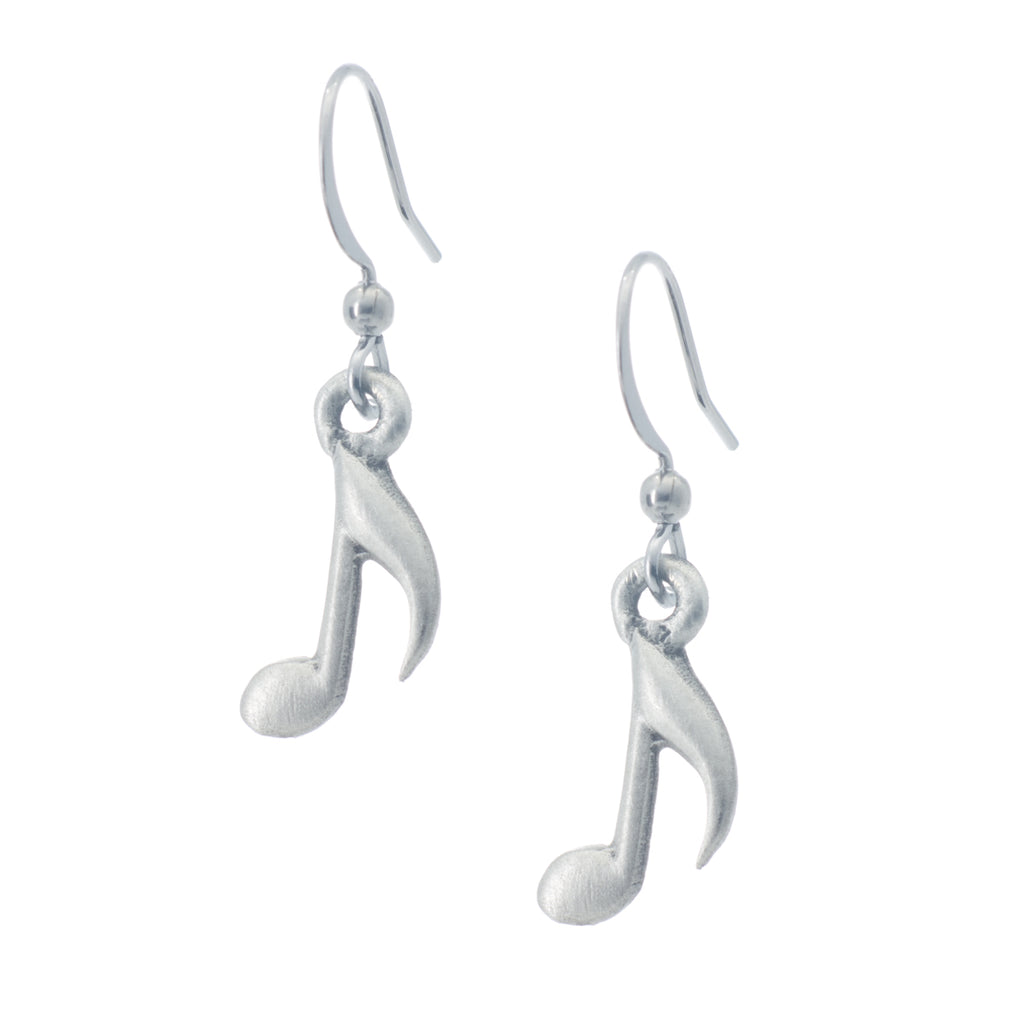 Music Note Earring. Satin finish. Made from Pewter. Made in Fredericton NB New Brunswick Canada