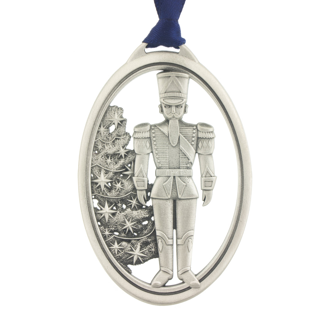 The Nutcracker. Toy Soldier. Ballet. Dance. Annual Series. 2014. Christmas Tree ornament. Made from Pewter. Blue ribbon. Made in Fredericton NB New Brunswick Canada