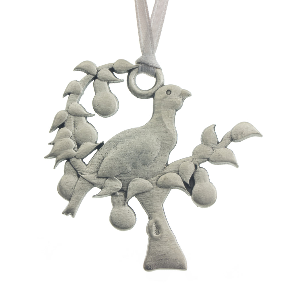 A partridge in a pear tree. Christmas Tree ornament. Made from Pewter. Silver ribbon. Made in Fredericton NB New Brunswick Canada