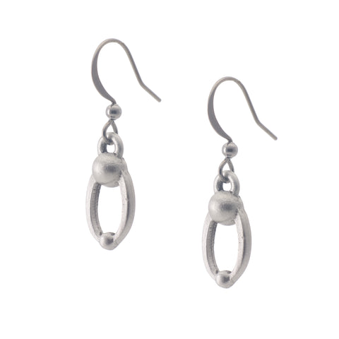 Parent and Child Earring. Satin finish. Made from Pewter. Made in Fredericton NB New Brunswick Canada
