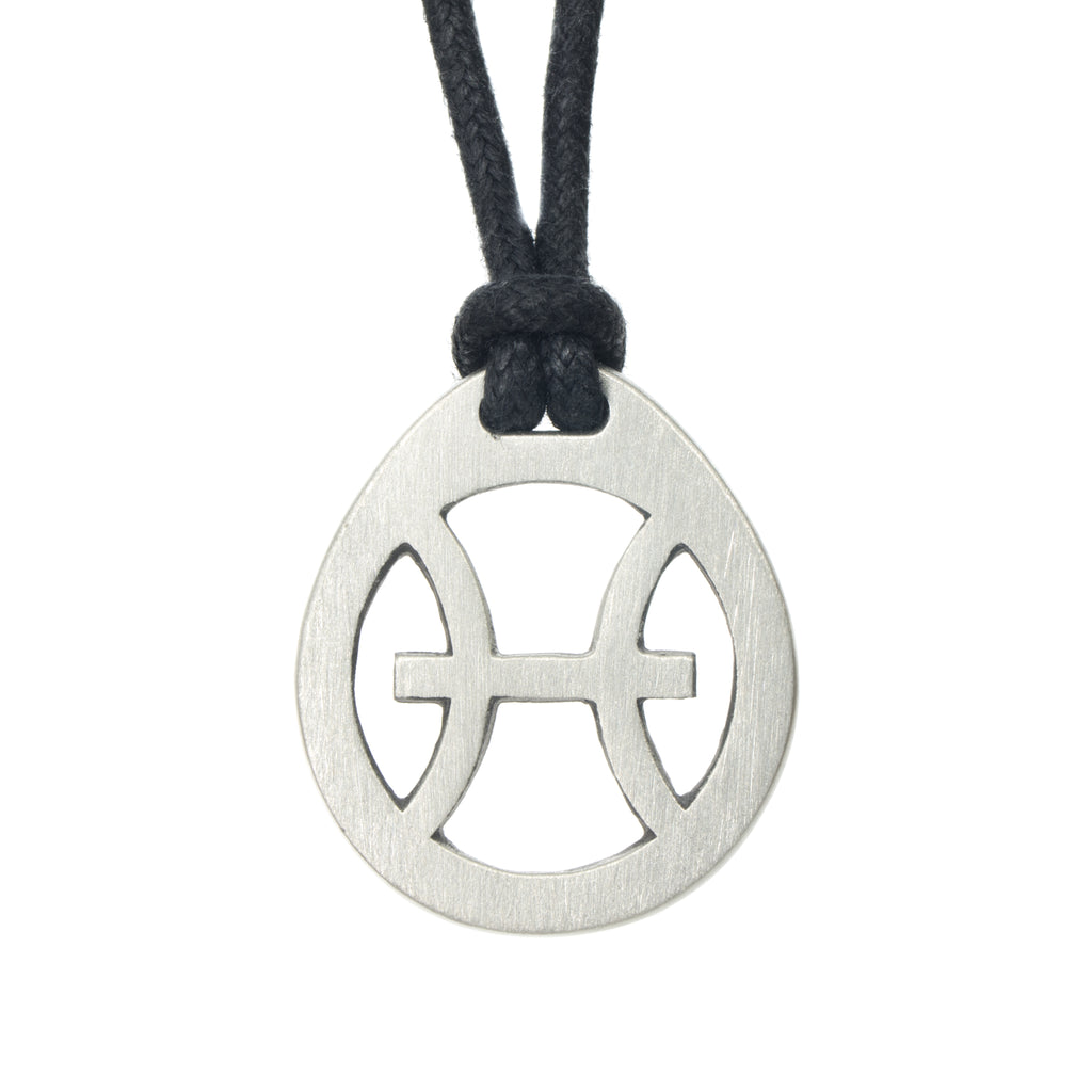 Pisces Zodiac Pendant. Made from Pewter. Black cord. Necklace. Made in Fredericton NB New Brunswick Canada
