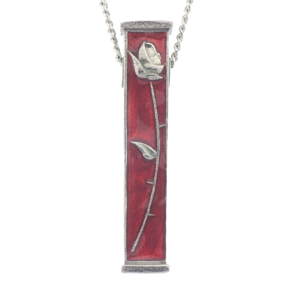 Rose Pillar Pendant. Enamel. Reversable. Made from Pewter. Necklace. Made in Fredericton NB New Brunswick Canada