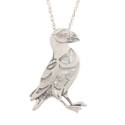 Puffin Pendant. Mark Preston. Made from Pewter. Necklace. Made in Fredericton NB New Brunswick Canada