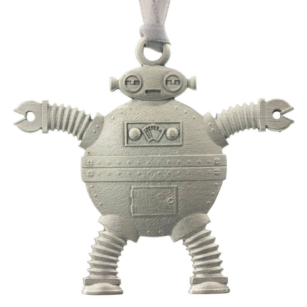 Robot 2 Christmas Tree ornament. Made from Pewter. Silver ribbon. Made in Fredericton NB New Brunswick Canada