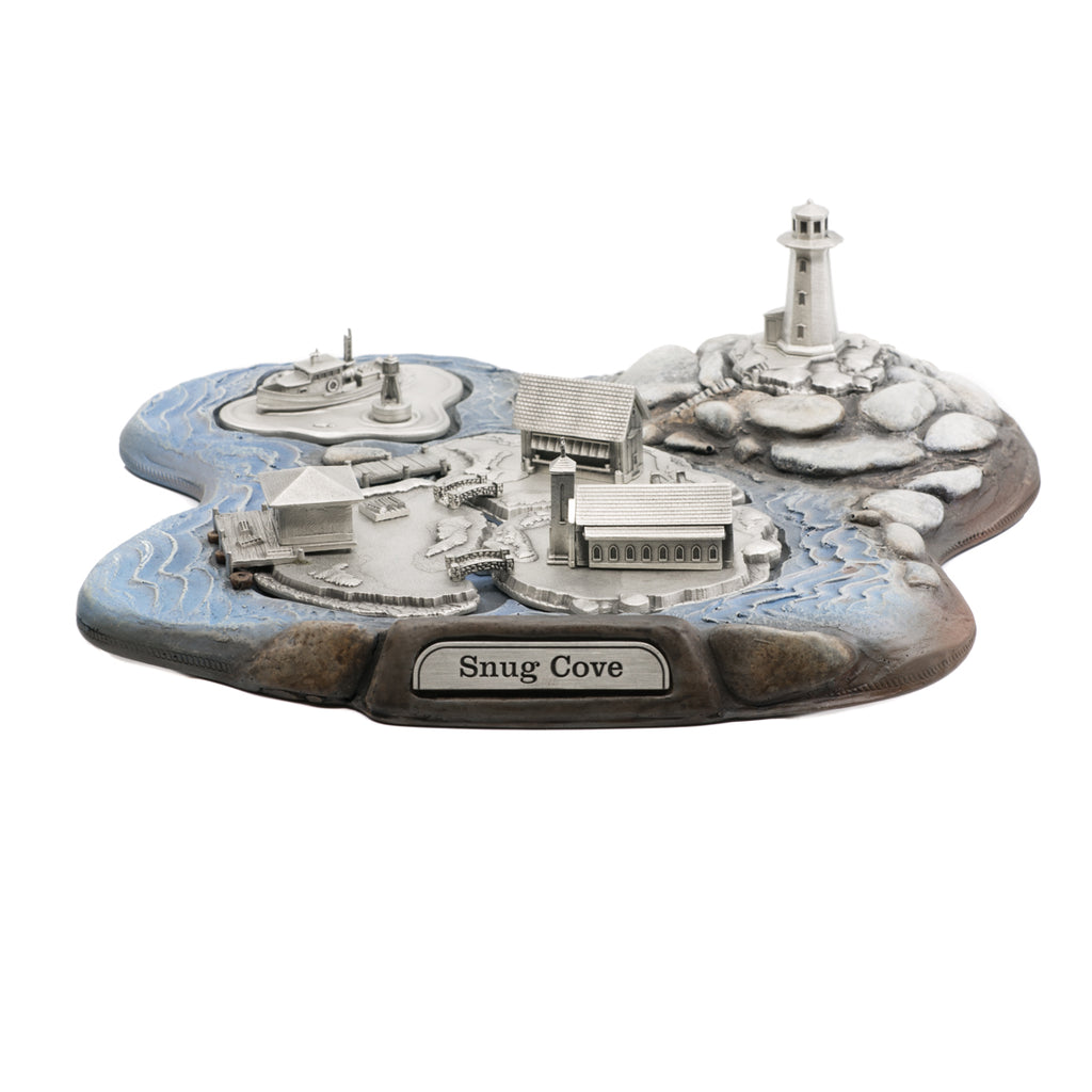 Snug Cove. Miniature. Diorama. Made from pewter and wood. Made in Fredericton NB New Brunswick Canada