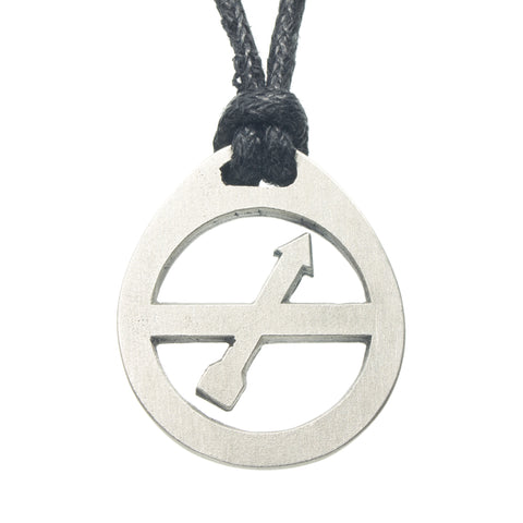 Sagittarius Zodiac Pendant. Made from Pewter. Black cord. Necklace. Made in Fredericton NB New Brunswick Canada