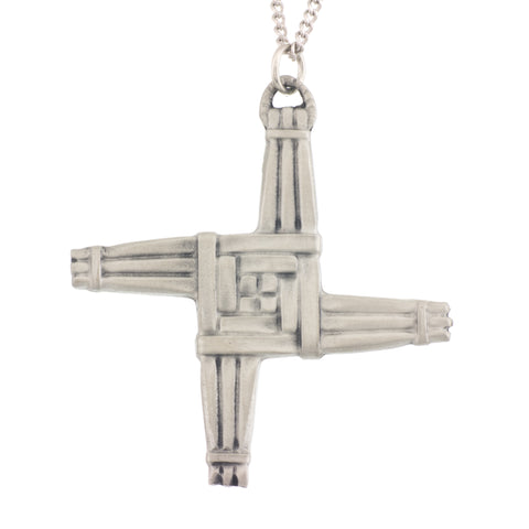 Large Saint Bridgid's Cross Pendant. Satin. Made from Pewter. Necklace. Made in Fredericton NB New Brunswick Canada