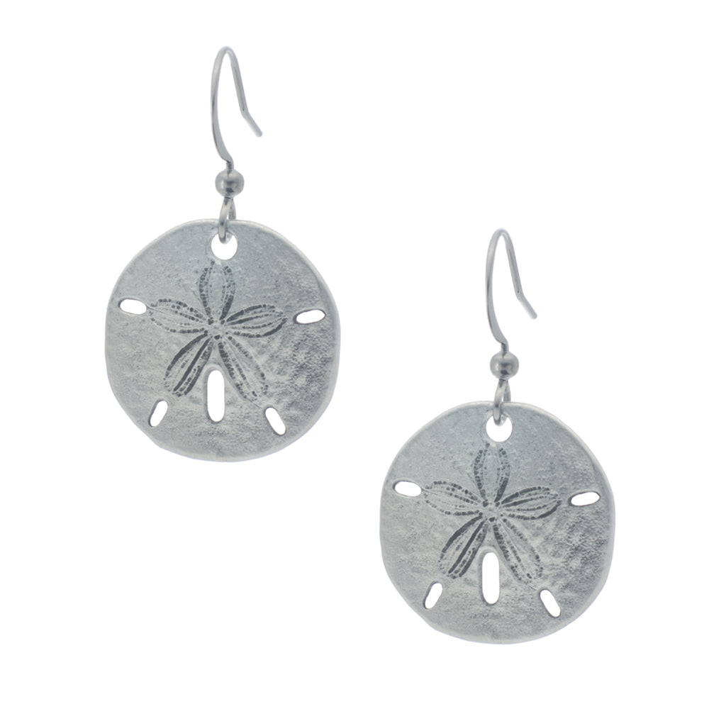 Small Sand Dollar Earring. Satin finish. Made from Pewter. Made in Fredericton NB New Brunswick Canada
