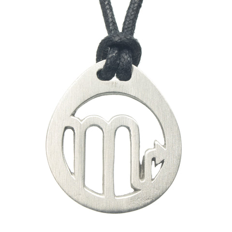 Scorpio Zodiac Pendant. Made from Pewter. Black cord. Necklace. Made in Fredericton NB New Brunswick Canada